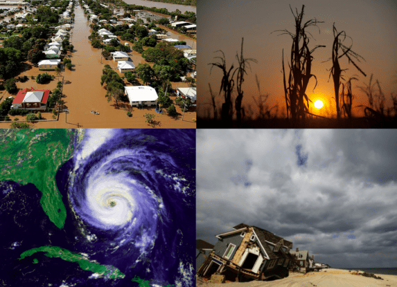Figure 3. Extreme weather events associated with La Nina including floods, drought and hurricanes. (Figure from top left going clockwise (1) http://i.telegraph.co.uk/multimedia/archive/01797/australia-flood_1797071b.jpg (2) http://photographyblog.dallasnews.com/files/2012/08/droughtB001.jpg (3) http://geology.com/hurricanes/named-hurricane-fran.gif (4) http://www.takepart.com/sites/default/files/styles/tp_gallery_slide/public/HurricaneSandyHomeBeach_640.jpg?itok=JbWpiQA2)
