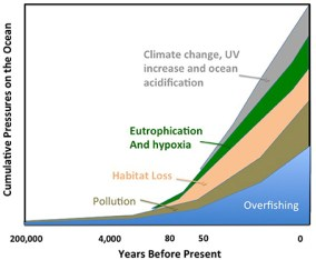 Figure 1. A time line of the 5 most pressing problems affecting the global ocean.