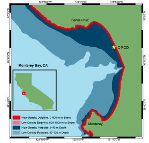 Fig. 4: Monterey Bay, CA and the location of the click detectors.