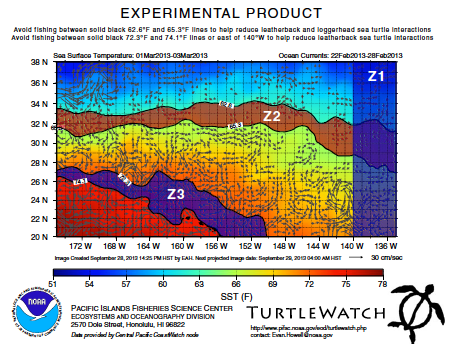 TurtleWatch version 2 Map. This map displays zones in which to avoid fishing. It blocks out Z1—east of the 140° W longitude line—, Z2—between 17°C and 18.5°C—, and Z3—between 22.5°C and 23.5°C. It still includes sea surface temperature as a color scale as well as current directions indicated with gray arrows.