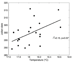 Figure 3: The relationship between sea surface temperature at the foraging grounds in the South Equatorial Gyre and the date (in Julian Days) at which the first 5% of leatherback turtle nests where established at Playa Grande, Cost Rica.