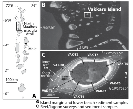 Figure1a:Northern Maalhosmadulu Atoll.  2a) the location of Vakkaru Island. 3a) geologic zones of the island and study transects.