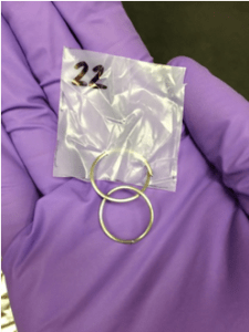 This is a picture of one of 29 polyethylene samplers I am using in my research. The two metal rings act as anchors to keep the sampler from floating on top of the water.