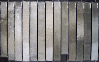 Figure 2: Although not from this particular study, these are prime examples of marine sediment cores from the South Atlantic, about 1My old. Credit: Hannes Grobe.