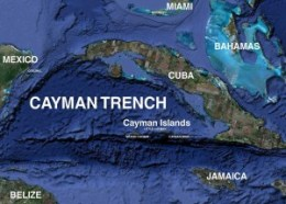 Figure 1: Cayman Trench spreading center between South and North America.   http://www.grandcaymansdiving.com/images/cayman-map-photo-region-3D-.jpg