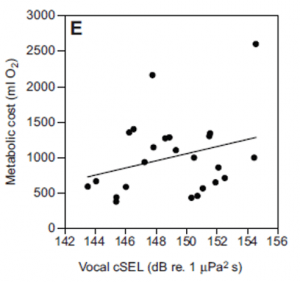"The total metabolic cost of vocalization was calculated as the difference in oxygen consumption rates while vocalizing and while at rest. Metabolic cost increases with vocal effort (called ""cSEL"" for ""cumulative sound exposure level"" in the paper), suggesting louder or more frequent calling is more energetically expensive. Adapted from Holt et al., 2015."