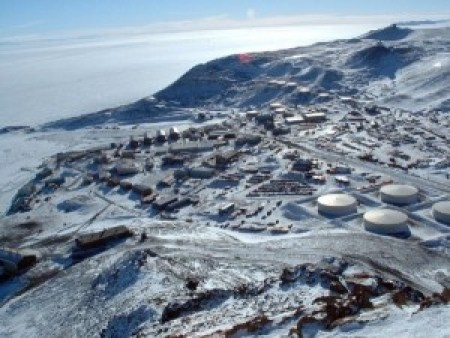 Fig. 2. Icefish were angled from the sea ice at Evans Wall, Ross Island, McMurdo Sound, Antarctica, before being transported to the Crary Lab at the McMurdo Sound Station (pictured here) for experiments.