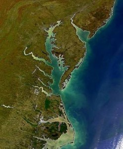 Figure 2: A satellite image of Chesapeake Bay, the study area of this research. Photo credit: University of Maryland Center for Environmental Science.