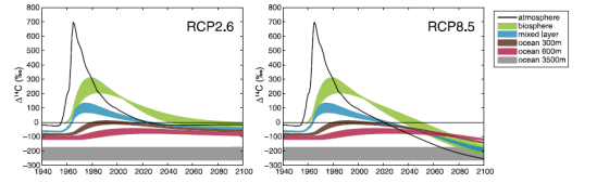 Predicted radiocarbon content in the atmosphere, biosphere, and ocean with aggressive action on CO2 emissions (RCP2.6) and with no policy change (RCP8.5). From Graves 2015.