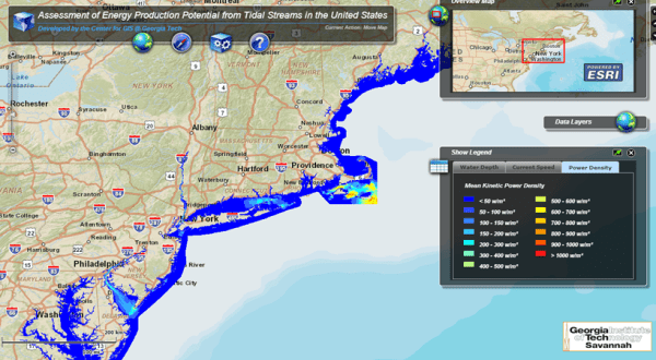 Figure 2: Southern New England Tidal Power Capacity map based on Georgia Tech study (Image source: http://www.tidalstreampower.gatech.edu/)