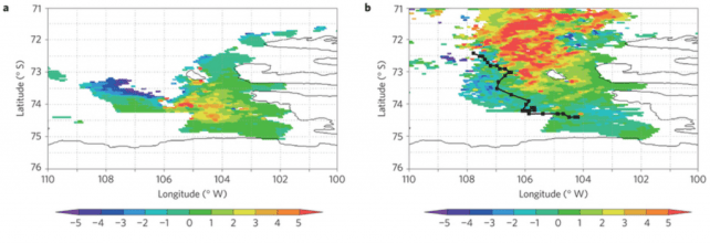 Figure 1: mean chlorophyll concentrations in the Southern Ocean in 2011 (a) and in 2014 (b). You can see the path of one sample giant iceberg by the black line in (b). Chlorophyll concentrations are higher in 2014, and also higher in the down-current path of the iceberg. Credit: Duprat et al.