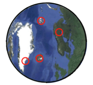 The locations of the sampling sites across the Arctic. Each of the red circles contained several sites.