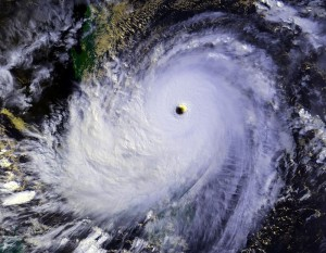 Super Typhoon Nina approaching the Philippines, 1987. Image produced from NOAA data. Credit: NOAA, wikipedia.