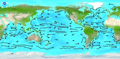 Ocean currents are crucial in distributing heat around the globe, playing a vital role in climate maintenance. Image credit: NOAA Ocean Explorer