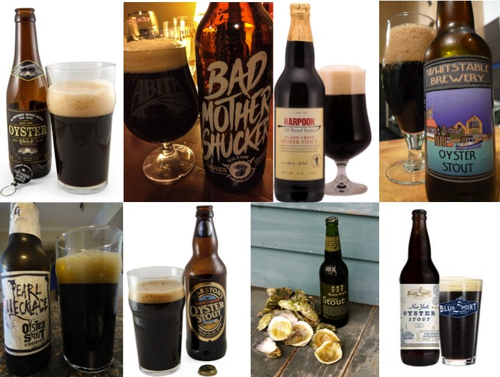 Figure 2: A selection of oyster stouts. From left to right, top: Porterhouse Brewing Oyster Stout (Ireland), Abita Bad Mother Shucker (Louisiana), Harpoon Island Creek Oyster Stout (Massachusetts), Whitstable Brewery Oyster Stout (UK) Bottom: Dogfish Head Pearl Necklace Oyster Stout (Delaware), Marston's Oyster Stout (UK), Three Boys Oyster Stout (New Zealand), Fordham Blue Point Oyster Stout (Delaware).