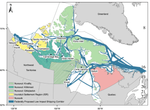 Map depicting Inuit communities in process