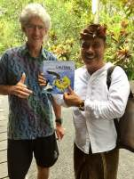 Agung Gede Rai founder and owner of ARMA Balinese cultural museum in Ubud gladly accepts copies of Ocean Champions to be donated to schools including The Sutra Dharma school.