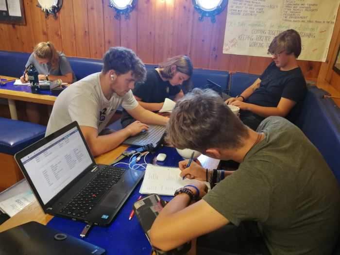 Students learning on board