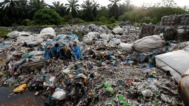 Waste at an illegal plastic recycling factory in Malaysia