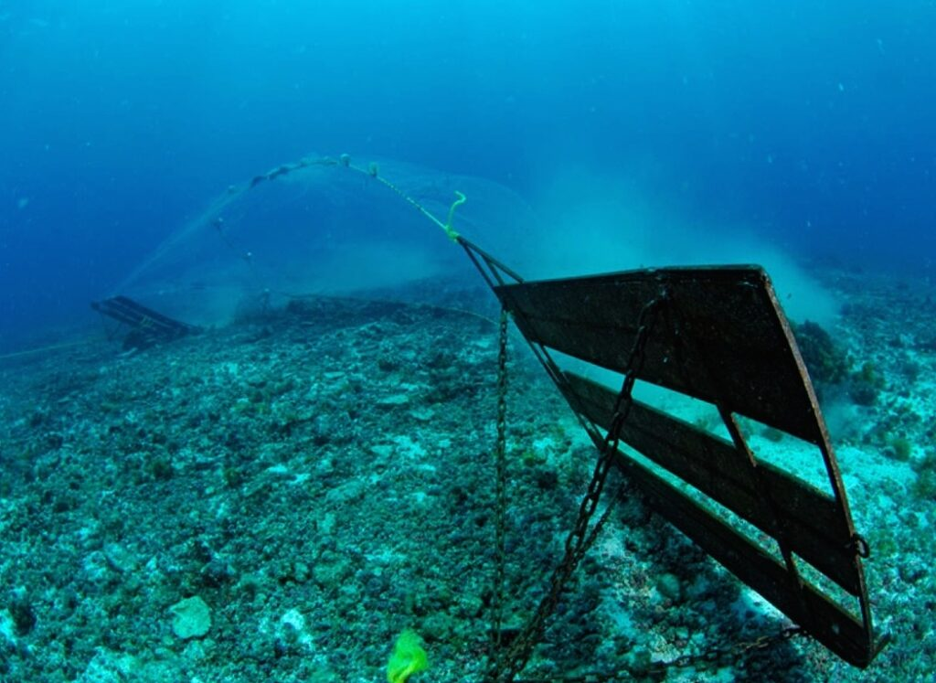 A bottom trawl on the seabed as seen underwater