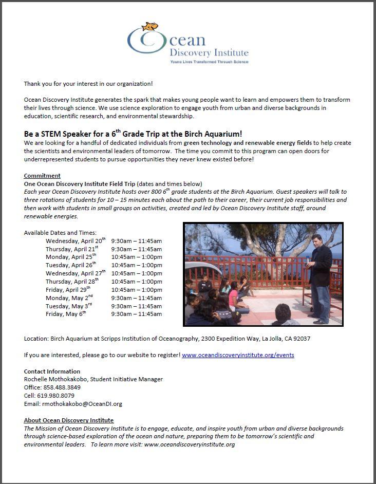 Birch Aquarium Trip Speaker Registration