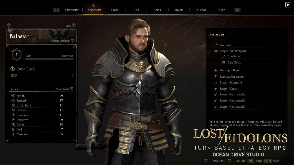 Lost Eidolons Equipment UI