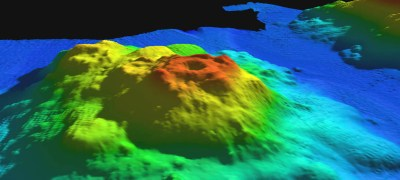 """In this multibeam image of Ely Seamount, the caldera (aka the Crater of Doom) is visible at the apex of the seamount."" Image courtesy of Jason Chaytor, NOAA"