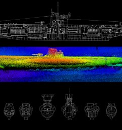 diagram top and sonar image below of u 576  [ 2100 x 1500 Pixel ]