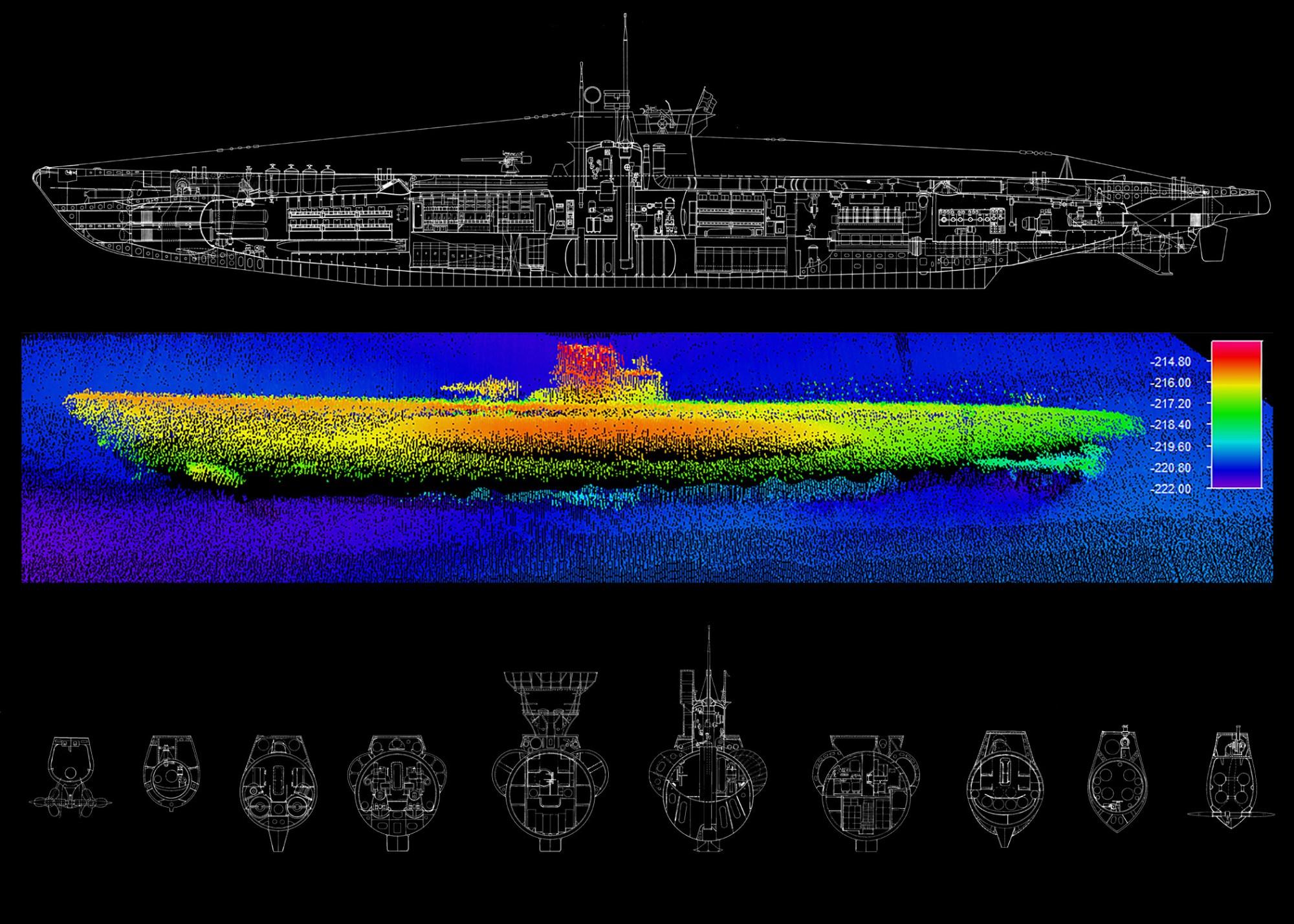 hight resolution of diagram top and sonar image below of u 576