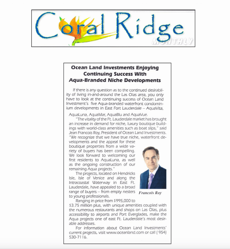 Press clip image of article in Coral Ridge Monthly.