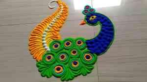 easy peacock rangoli designs