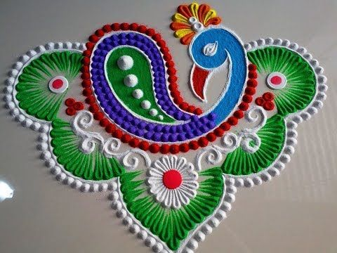 Dev Diwali Peacock Rangoli Designs