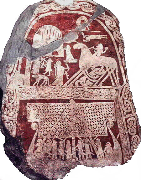 ninth-century-picture-stone-from-the-island-of-gotland-sweden-a-valkyrie-with-a-drinking-horn-greets-odin-as-he-arrives-at-valhalla-astride-sleipnir-his-eight-legged-horse-on-which-h