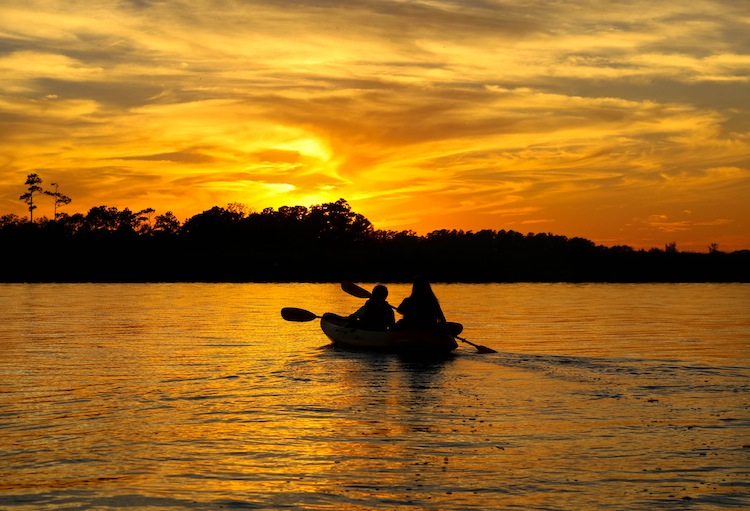 Sunset Kayaking in Back Bay  Kayaking Sandbridge