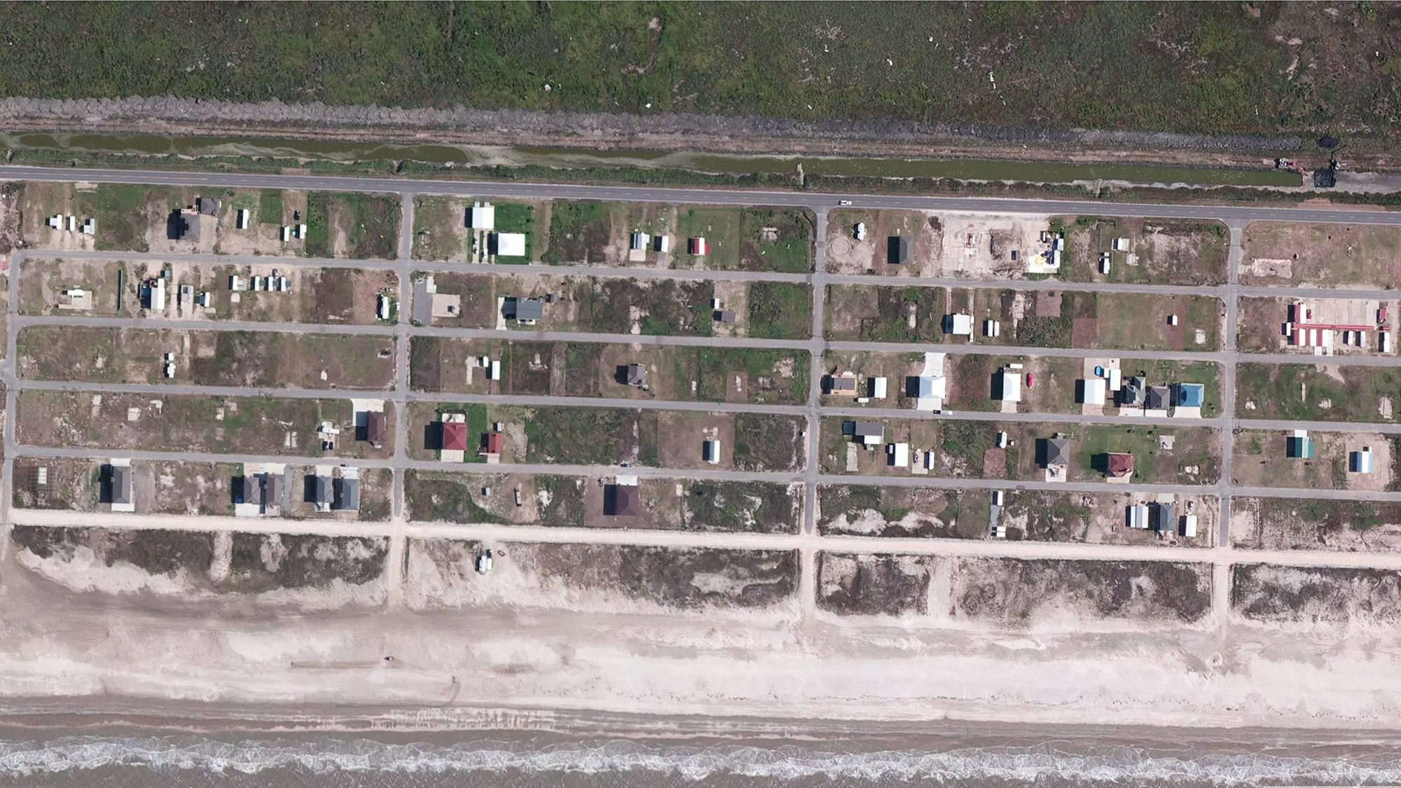 an image showing damage near Holly Beach, Louisiana after Laura