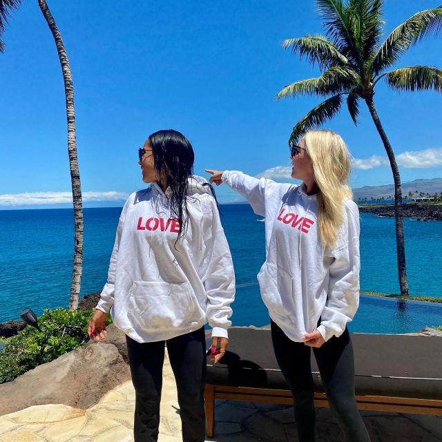 @emmakayparkin and @koriethomas wearing their Ocean SF LOVE ❤️ sweatshirts on a beautiful clear day in Hawaii
