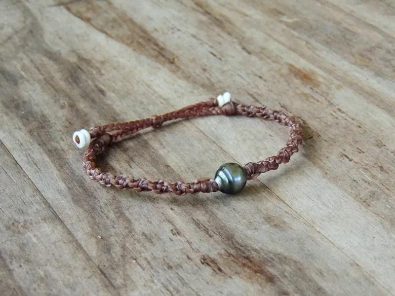Ocean Tuff Jewelry - Single Tahitian Pearl Adjustable Bracelet