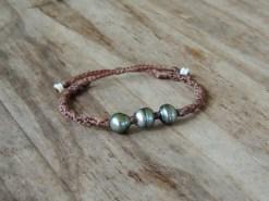Ocean Tuff Jewelry - Triple Tahitian Pearl Adjustable Bracelet