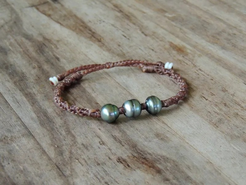 Ocean Tuff Jewelry - Triple Tahitian Pearl Adjustable Bracelet
