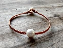 Ocean Tuff Jewelry - Single Freshwater Pearl Braided Bracelet