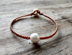 Ocean Tuff Jewelry - Single Freshwater Pearl Braided Bracelet