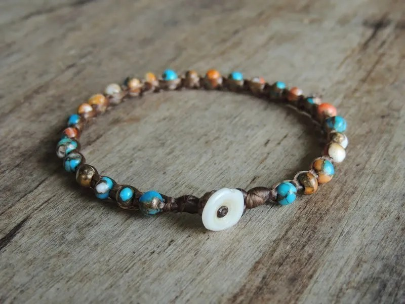 Spiny Oyster Turquoise Gemstone Microweave Bracelet