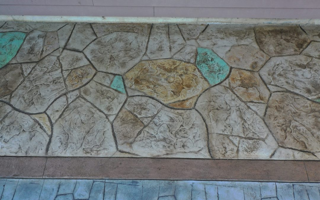 Acid stained flagstone stamped concrete Oregon Coast concrete contractor