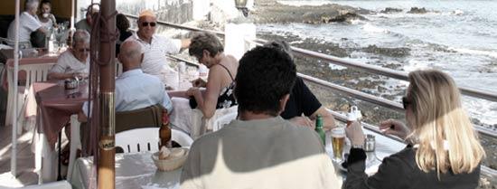 Terrace of El Amanecer restaurant, Arrieta, Lanzarote, specializing in fresh fish