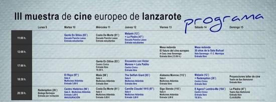 Programa III Muestra de Cine Europeo de Lanzarote