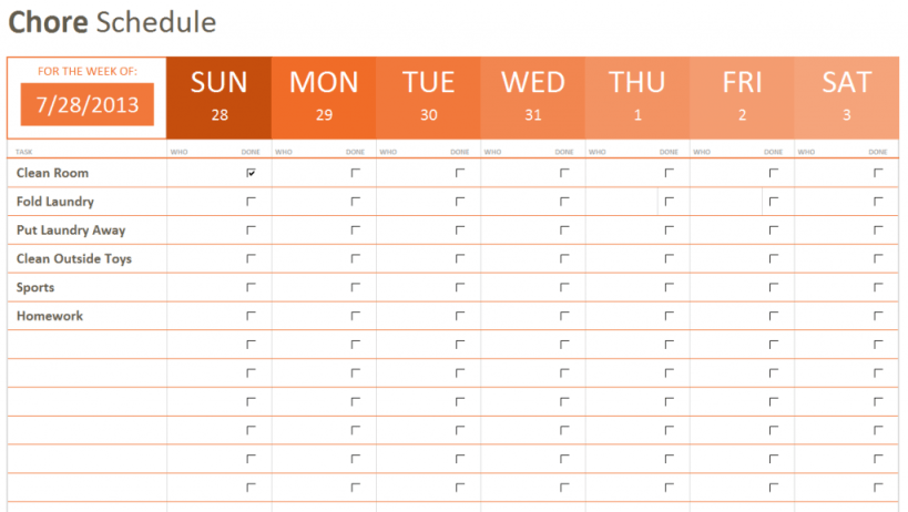 Chore Schedule office 365