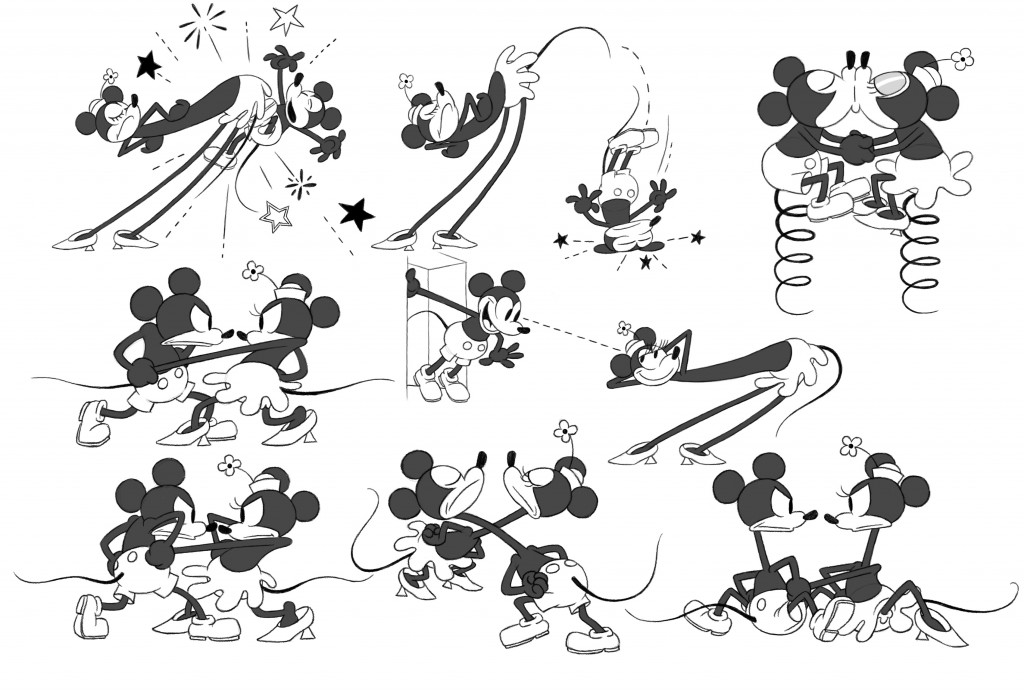 """""""GET A HORSE!"""" Mickey Mouse and Minnie Mouse model sheet. ©2013 Disney. All Rights Reserved."""