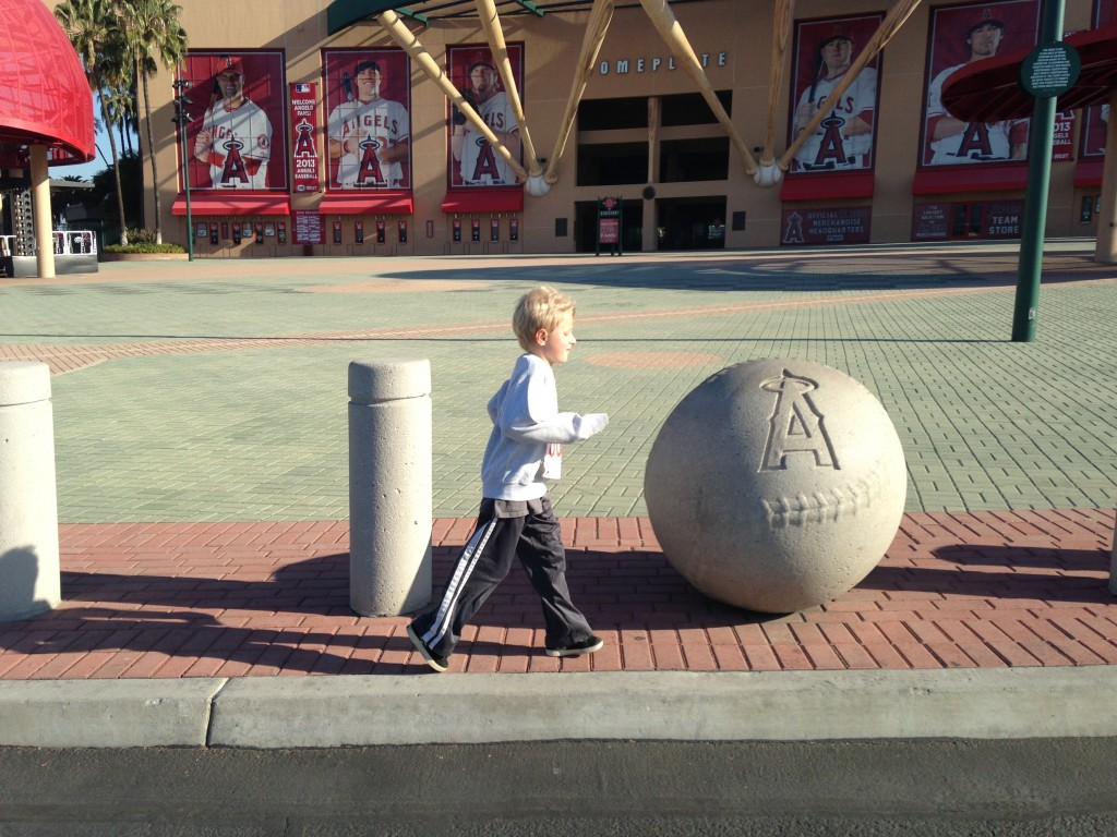 My 7 year old running outside Angels Stadium