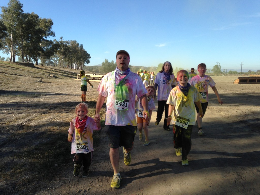 The whole family actually running!