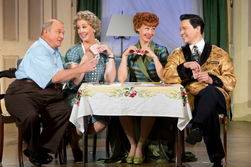 Kevin Remington (Fred), Joanna Daniels (Ethel), Sirena Irwin (Lucy), and Bill Mendieta (Ricky) in I LOVE LUCY® LIVE ON STAGE (Photo by Jeremy Daniel)